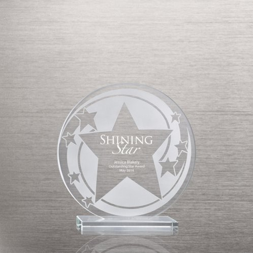 Star Swirl Etched Glass Award